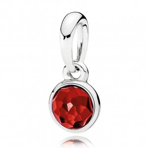 925 Sterling Silver July Droplet, Synthetic Ruby Pendant Charm Bead For Pandora Bracelet