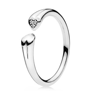 925 Sterling Silver Two Hearts Clear Cz Ring