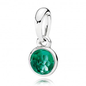 925 Sterling Silver May Droplet, Royal-Green Crystal Charm Bead For Pandora Bracelet