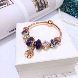 Rose Gold Plated Complete Finished Charm Bracelet-Rose Gold with Purple