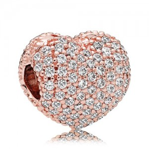 Rose Gold Plated Clear Cz Pave Open My Heart Clip Charm Bead For Pandora Charm Bracelet