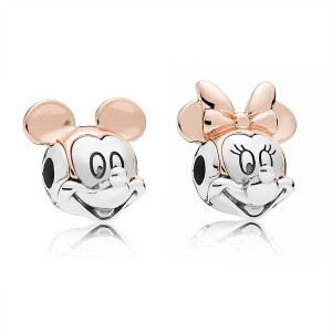 925 Sterling Silver & Rose Minnie Charm Bead