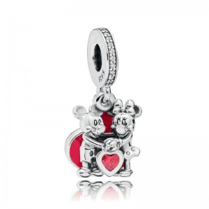 925 Sterling Silver Mickey & Minnie With Love Pendant Charm Bead