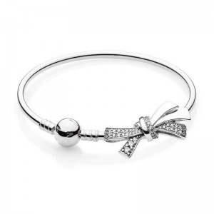 925 Sterling Silver Brilliant Bow Bangle Bracelet-For Mother's Day