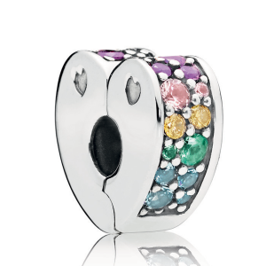 925 Sterling Silver Multi-Colored Sparkling Arcs of Love Clip Charm Bead For Pandora Bracelet