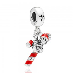 925 Sterling Silver Santa Mickey's Candy Cane Charm Bead