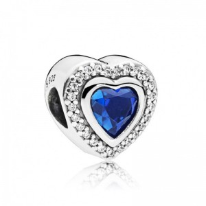 925 Sterling Silver Blue Sparkling Love Charm Bead