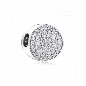925 Sterling Silver Pave Sphere Charm Bead