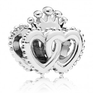 925 Sterling Silver United Regal Hearts Charm Bead