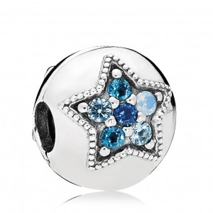 925 Sterling Silver Bright Star Multi-Colored Crystals Clip Charm Bead For Pandora Bracelet