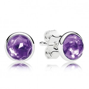 925 Sterling Silver February Droplets, Synthetic Amethyst Pandora Earrings