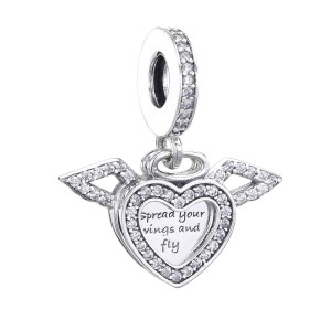 925 Sterling Silver Heart and Angel Wings Dangle Charm Bead