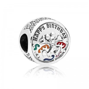 925 Sterling Silver Mickey Mouse Happy Birthday Charm Bead