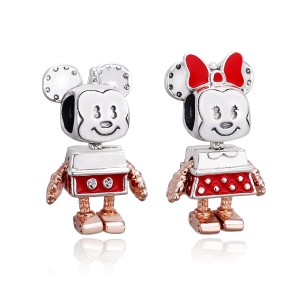 925 Sterling Silver Robot Mickey & Minnie Charm Bead