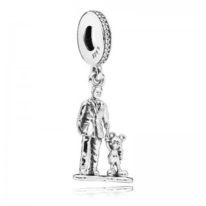 """925 Sterling Silver Walt and Mickey Mouse """"Partners"""" Dangle Charm Bead"""