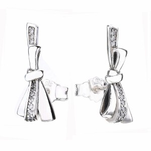 925 Sterling Silver Mother's Day Bow Earrings