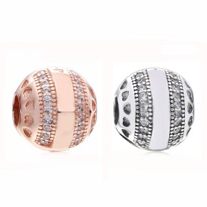 925 Sterling Silver Round Clip Charm Bead
