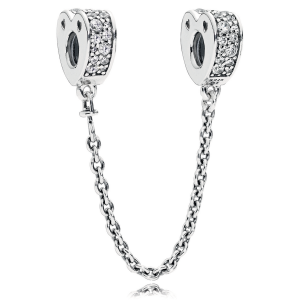 925 Sterling Silver Sparkling  Arcs of Love Safety Chain Charm Bead For Pandora Bracelet