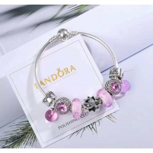 925 Sterling Silver Complete Finished Pandora Charm Bracelet-Always Young with Pink