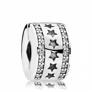 925 Sterling Silver Starry Formation Clear Cz Clip Charm Bead For Pandora Bracelet