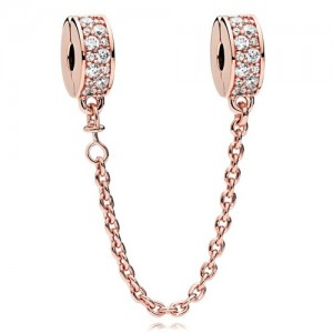 Rose Gold Plated Clear Cz Shining Elegance Safety Chain Charm Bead For Pandora Charm Bracelet