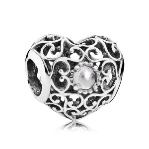 925 Sterling Silver April Signature Heart with Rock Crystal Charm Bead For Pandora Charm Bracelet