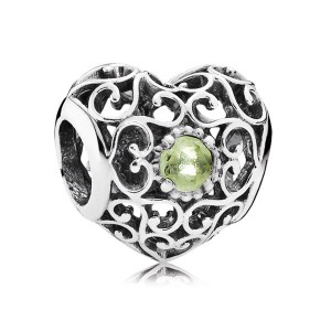 925 Sterling Silver August Signature Heart with Peridot Charm Bead For Pandora Charm Bracelet