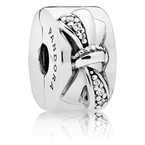 925 Sterling Silver Shiny Bow Clip Charm Bead For Pandora Bracelet