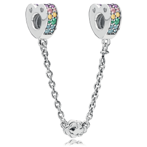 925 Sterling Silver Multi-Colored  Arcs of Love Safety Chain Charm Bead For Pandora Bracelet