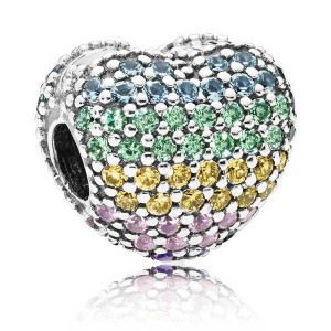 925 Sterling Silver Open Your Heart Clip with Multi Color Cz Charm Bead For Pandora Bracelet