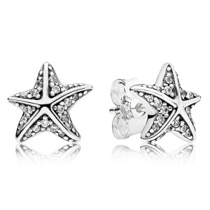 925 Sterling Silver Tropical Starfish, Clear CZ Stud Pandora Earrings