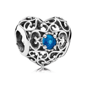 925 Sterling Silver December Signature Heart with London Blue Crystal Charm Bead For Pandora Charm Bracelet