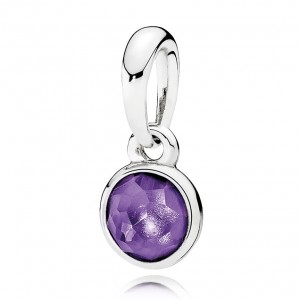 925 Sterling Silver February Droplet, Synthetic Amethyst Pendant Charm Bead For Pandora Bracelet