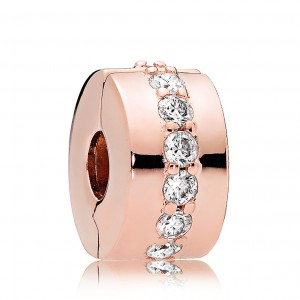 Rose Gold Plated Clear Cz Shining Path Clip Charm Bead For Pandora Charm Bracelet