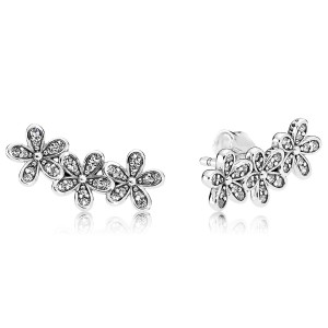 925 Sterling Silver Dazzling Daisies with Clear CZ Earrings