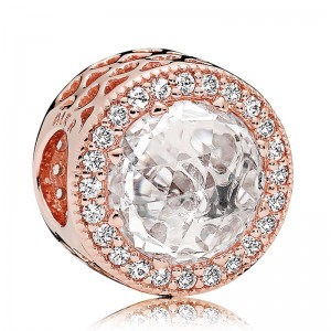 Rose Gold Plated Clear Cz Radiant Hearts Charm Bead For Pandora Charm Bracelet