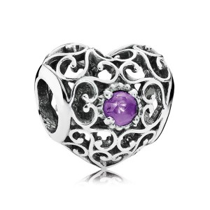 925 Sterling Silver February Signature Heart with Synthetic Amethyst Charm Bead For Pandora Charm Bracelet