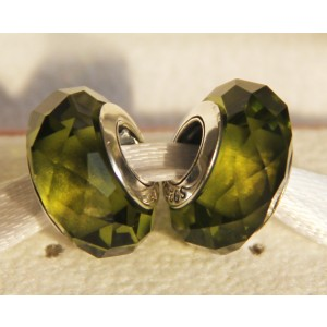 Yellow Green Faceted Murano Glass Bead For Pandora Bracelet