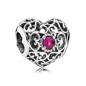 925 Sterling Silver July Signature Heart with Synthetic Ruby Charm Bead For Pandora Charm Bracelet