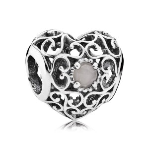 925 Sterling Silver June Signature Heart with Gray Moonstone Charm Bead For Pandora Charm Bracelet