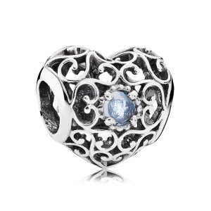 925 Sterling Silver March Signature Heart with Light Blue Crystal Charm Bead For Pandora Charm Bracelet