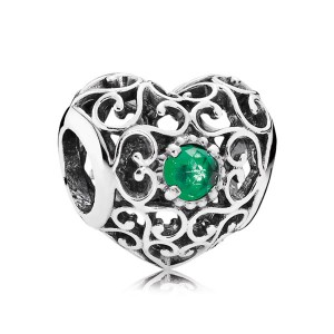 925 Sterling Silver May Signature Heart with Royal Green Crystal Charm Bead For Pandora Charm Bracelet