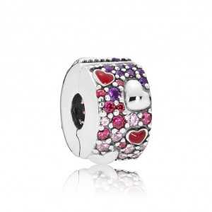 925 Sterling Silver Asymmetric Hearts of Love Spacer Charm Bead For Pandora Bracelet