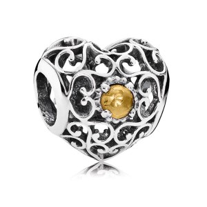 925 Sterling Silver November Signature Heart with Citrine Charm Bead For Pandora Charm Bracelet