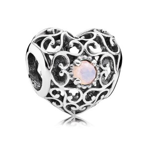 925 Sterling Silver October Signature Heart with Opalescent Pink Crystal Charm Bead For Pandora Charm Bracelet