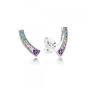 925 Sterling Silver Multi Colour Arches Stud Pandora Earrings