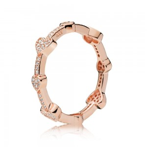 Rose Gold Plated Over Silver Alluring Hearts Pandora Ring