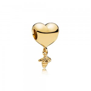 18CT Gold Plated Heart and Bee Shine Charm Bead For Pandora Essence Bracelet