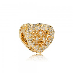 18CT Gold Plated Honeycomb Lace Charm Bead For Pandora Bracelet