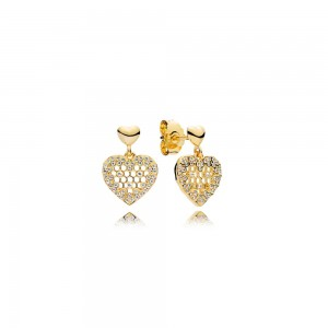 18CT Gold Plated Shine Honeycomb Lace Drop Pandora Earrings